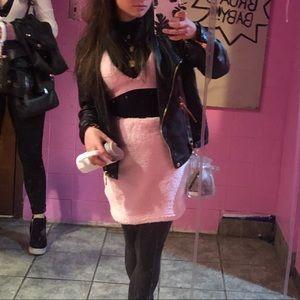 fuzzy furry pink two piece club wear